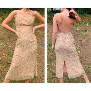 Vintage Silk Nude Beaded Backless Midi Dress Boho